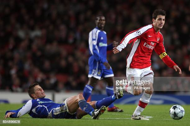 Arsenal's Francesc Fabregas skips past the challenge from Dynamo Kiev's Ognjen Vukojevic
