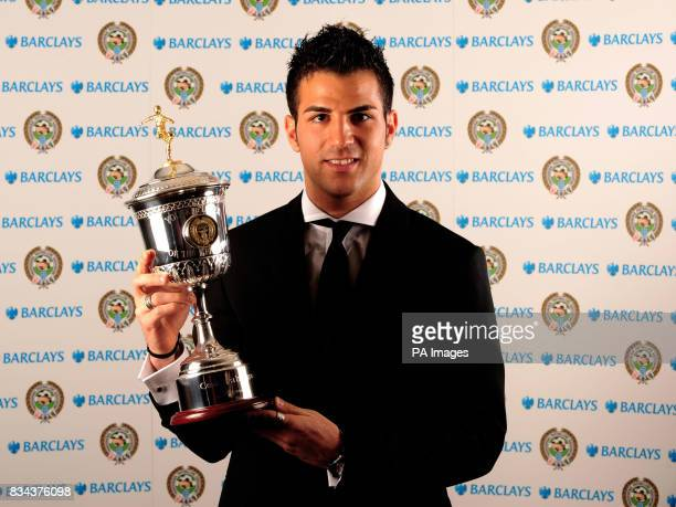 Arsenal's Francesc Fabregas with his trophy for Young Player of the Year 2008