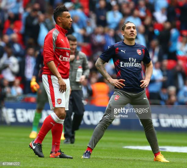 LR Arsenal's Francis Coquelin and Arsenal's Hector Bellerin during The Emirates FA Cup SemiFinal match between Arsenal and Manchester City at Wembley...