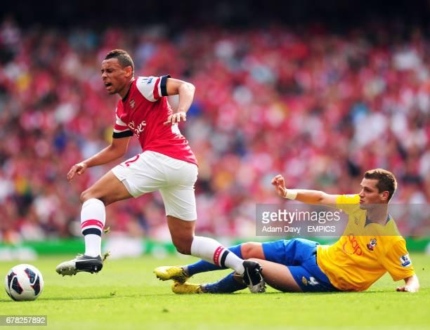 Arsenal's Francis Coquelin and Southampton's Morgan Schneiderlin battle for the ball