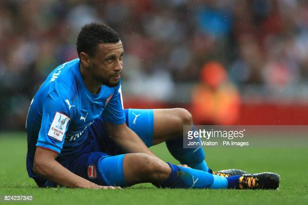 Arsenal's Francis Coquelin appears to have picked up a injury during the Emirates Cup match at the Emirates Stadium London