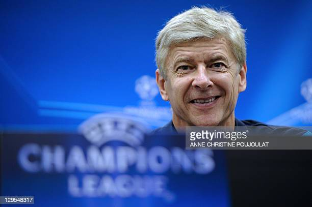 Arsenal's French coach Arsene Wenger arrives to give a press conference on October 18 2011 at the Velodrome stadium in Marseille southern France on...
