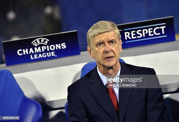 Arsenal's French Coach Arsene Wenger is pictured before the start of the UEFA Champions League Group F football match between GNK Dinamo Zagreb and...