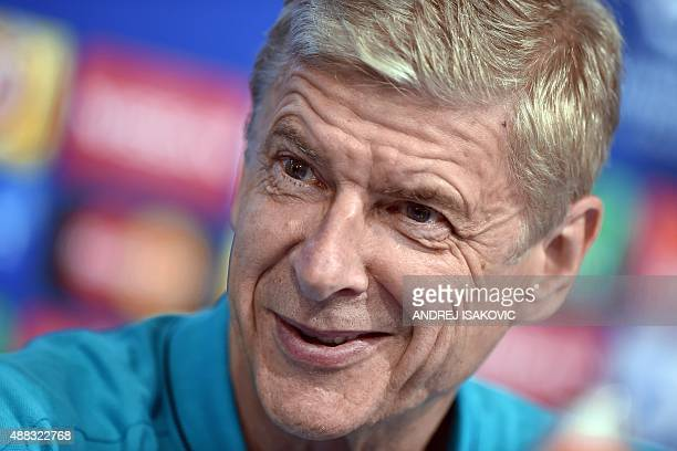 Arsenal's French Coach Arsene Wenger speaks during a press conference ahead of the UEFA Champions League Group F football match between GNK Dinamo...