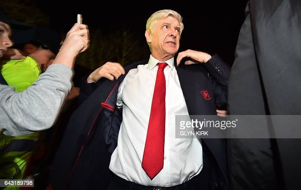 Arsenal's French manager Arsene Wenger arrives at the ground ahead of the English FA Cup fifth round football match between Sutton United and Arsenal...