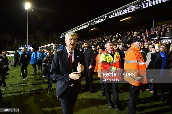 Arsenal's French manager Arsene Wenger arrives for the English FA Cup fifth round football match between Sutton United and Arsenal at the Borough...