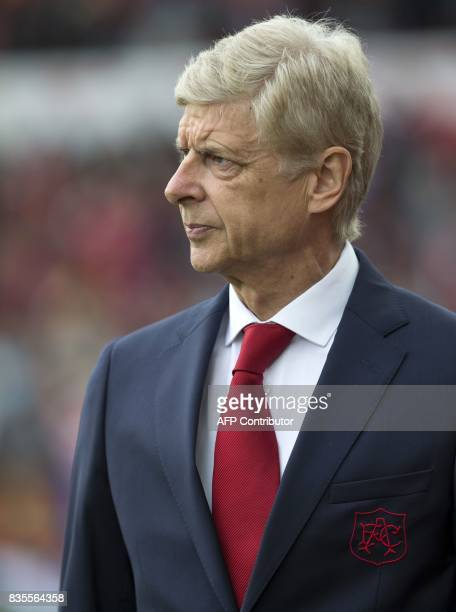Arsenal's French manager Arsene Wenger arrives for the English Premier League football match between Stoke City and Arsenal at the Bet365 Stadium in...