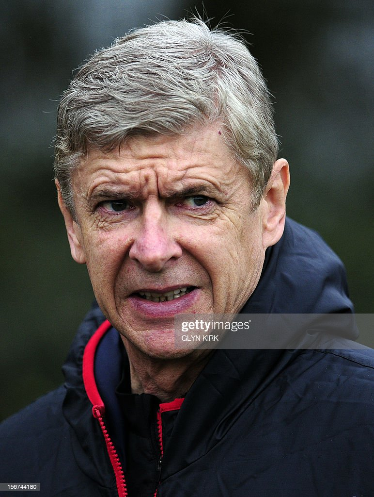 Arsenal's French manager Arsene Wenger attends training at Arsenal's training facility in London Colney in Hertfordshire north of London on November 20, 2012 on the eve of their UEFA Champions League group B football match against Montpellier.