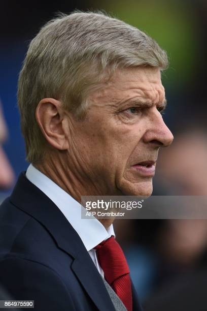 Arsenal's French manager Arsene Wenger is seen ahead of the English Premier League football match between Everton and Arsenal at Goodison Park in...