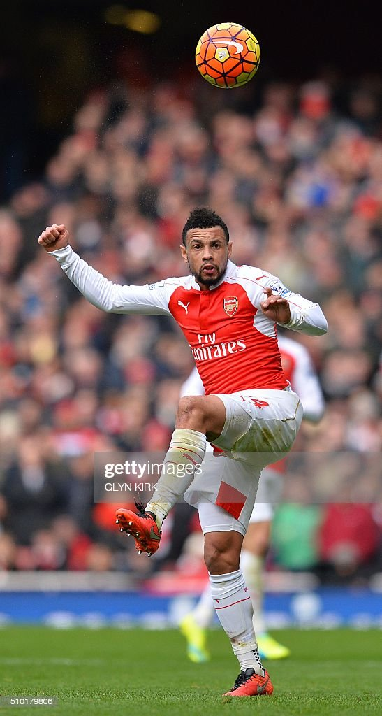 Arsenal's French midfielder Francis Coquelin jumps to head the ball during the English Premier League football match between Arsenal and Leicester at the Emirates Stadium in London on February 14, 2016. / AFP / GLYN KIRK / RESTRICTED TO EDITORIAL USE. No use with unauthorized audio, video, data, fixture lists, club/league logos or 'live' services. Online in-match use limited to 75 images, no video emulation. No use in betting, games or single club/league/player publications. /