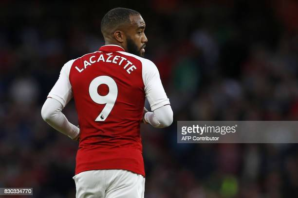 Arsenal's French striker Alexandre Lacazette is pictured during the English Premier League football match between Arsenal and Leicester City at the...