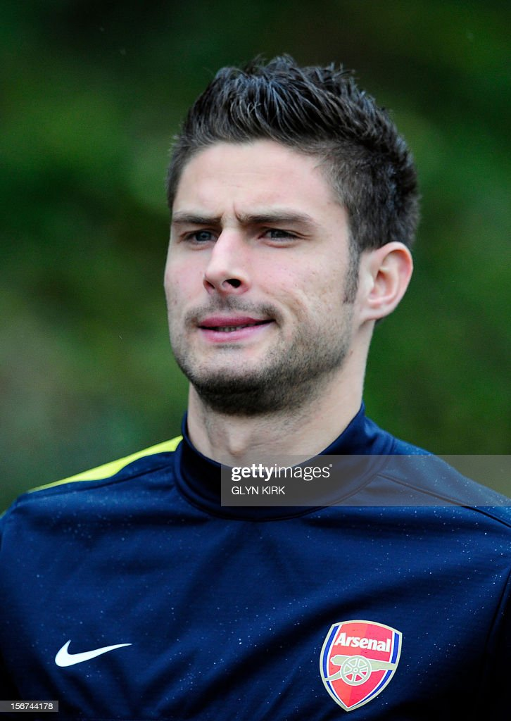 Arsenal's French striker Olivier Giroud attends training at Arsenal's training facility in London Colney in Hertfordshire north of London on November 20, 2012 on the eve of their UEFA Champions League group B football match against Montpellier.