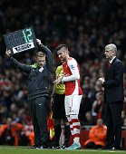 Arsenal's French striker Olivier Giroud makes an appearance as a substitute during the English Premier League football match between Arsenal and...