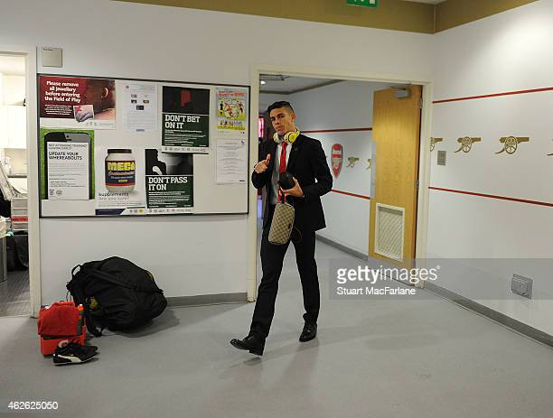 Arsenal's Gabriel walks in in to the home changing room before the Barclays Premier League match between Arsenal and Aston Villa at Emirates Stadium...