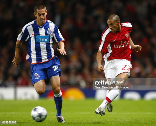Arsenal's Gael Clichy in action with FC Porto's Tomas Costa