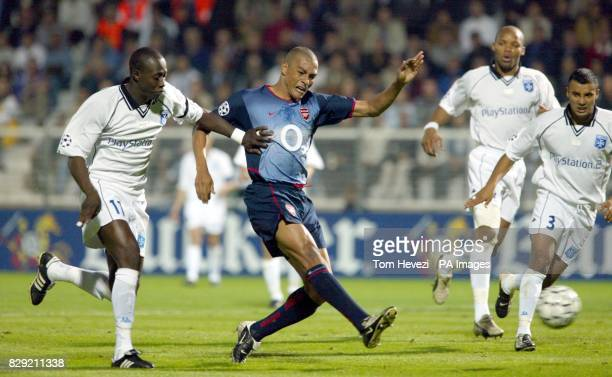 Arsenal's Gilberto scores the opening goal against Auxerre during their Champions League Group A match at the Stade Abbe Deschamps Auxerre THIS...