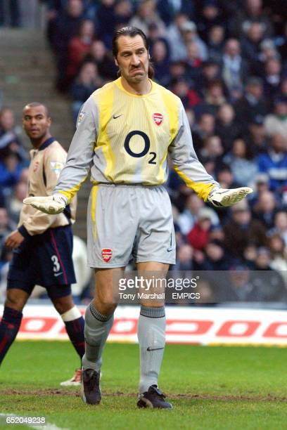 Arsenal's goalkeeper David Seaman shrugs his shoulders during the game with West Bromwich Albion
