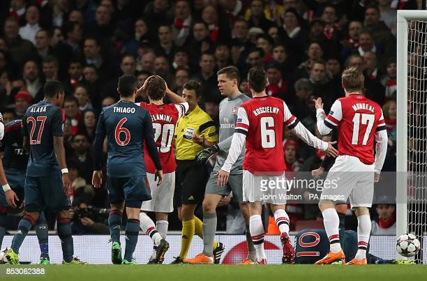 Arsenal's goalkeeper Wojciech Szczesny is sent off by referee Nicola Rizzoli