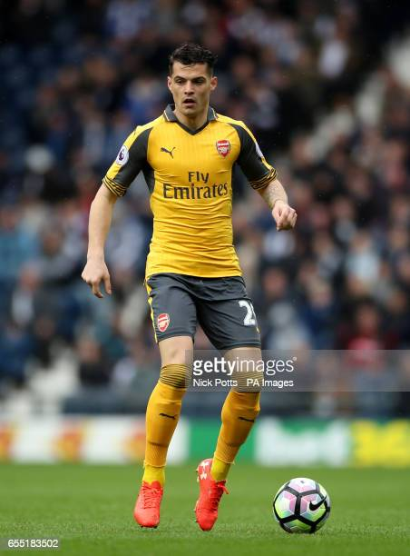 Arsenal's Granit Xhaka during the Premier League match at The Hawthorns West Bromwich