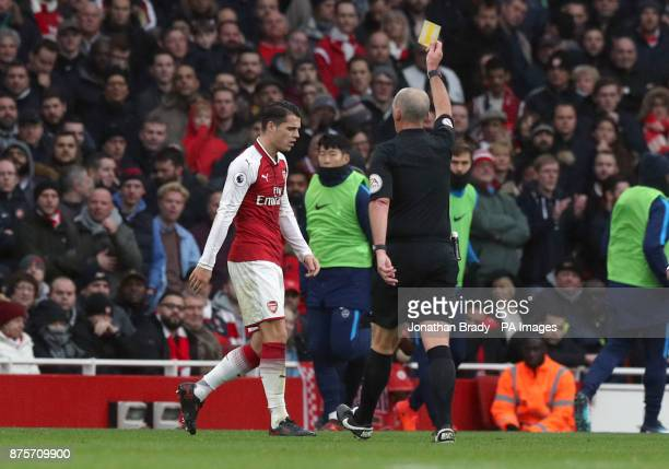 Arsenal's Granit Xhaka is shown a yellow card during the Premier League match at the Emirates Stadium London