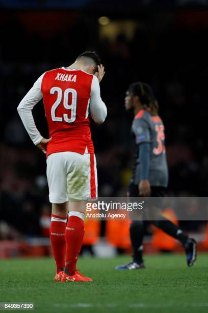 Arsenals Granit Xhaka reacts during the UEFA Champions League match between Arsenal FC and Bayern Munich at Emirates Stadium on March 7 2017 in...