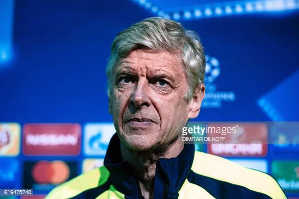 Arsenal's head coach Arsene Wenger gives a press conference on the eve of the UEFA Champions League group A football match between Ludogorets and...