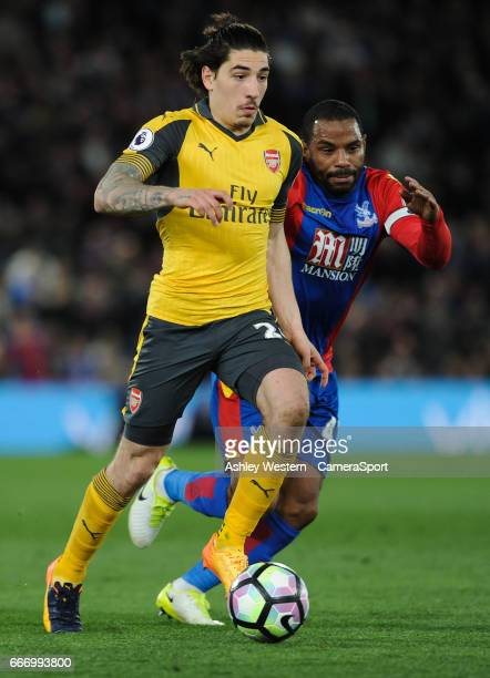 Arsenal's Hector Bellerin holds off the challenge from Crystal Palace's Jason Puncheon during the Premier League match between Crystal Palace and...