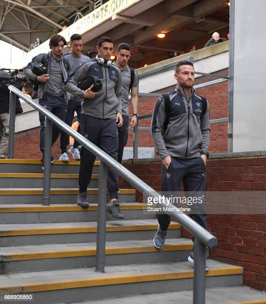 Arsenal's Hector Bellerin Mesut Ozil Emiliano Martinez Gabriel and Shkodran Mustafi arrive at Selhurst Park before the Premier League match between...