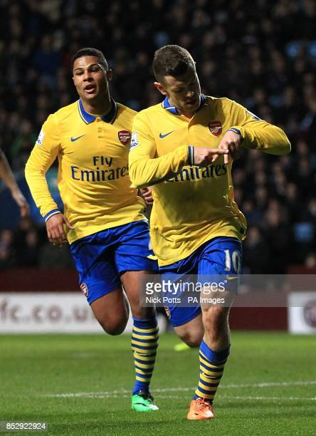Arsenal's Jack Wilshere celebrates scoring his teams opening goal with teammate Serge Gnabry