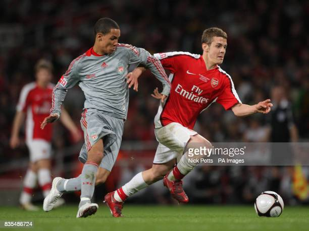 Arsenal's Jack Wilshere holds off challenge from Liverpool's Thomas Ince during the FA Youth Cup Final First Leg at the Emirates Stadium London
