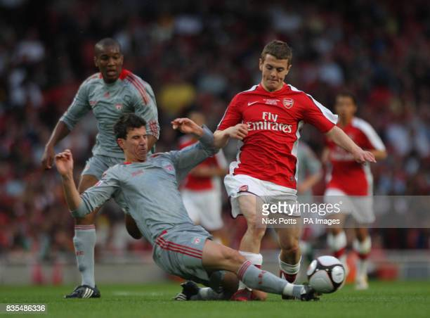 Arsenal's Jack Wilshere is tackled by Liverpool's Daniel Ayala during the FA Youth Cup Final First Leg at the Emirates Stadium London