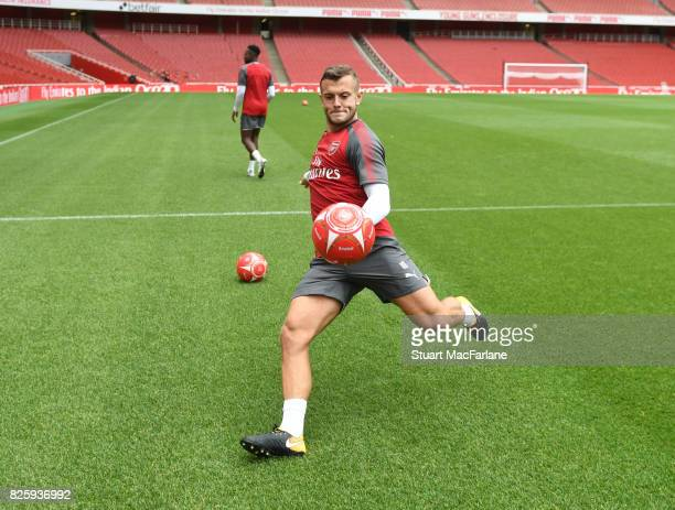 Arsenal's Jack Wilshere kicks football into the crowd after a training session at Emirates Stadium on August 3 2017 in London England