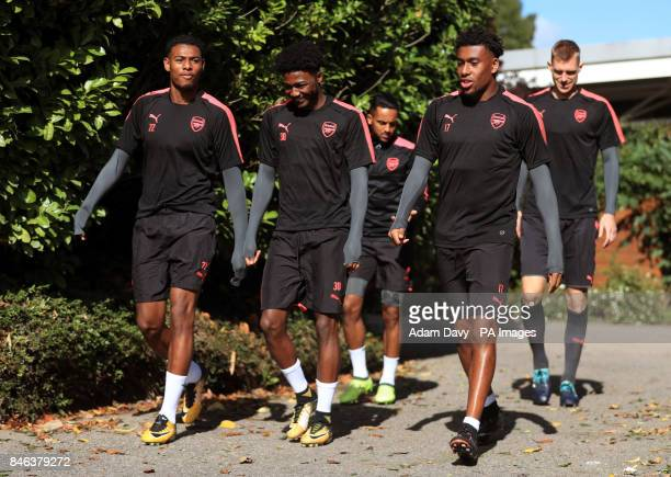 Arsenal's Jeff ReineAdelaide Ainsley MaitlandNiles and Alex Iwobi during the training session at London Colney