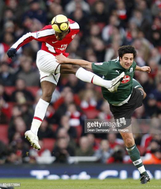 Arsenal's Johan Djourou and Plymouth Argyle's Rory Fallon in action