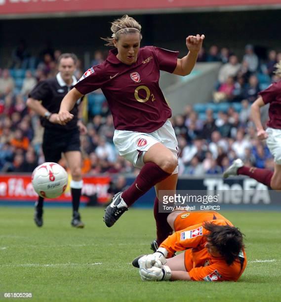 Arsenal's Julie Fleeting has her shot saved by Leeds United's goalkeeper Gemma Fay
