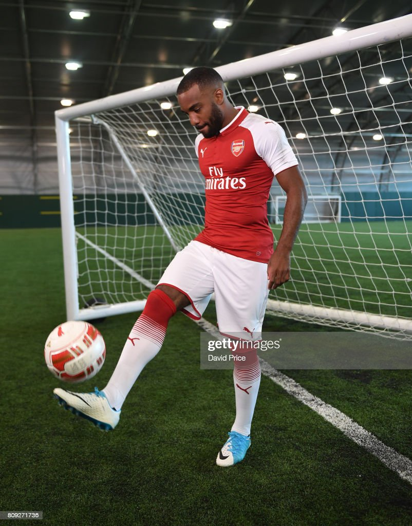 Arsenal's latest signing Alexandre Lacazette at London Colney on July 4, 2017 in St Albans, England.