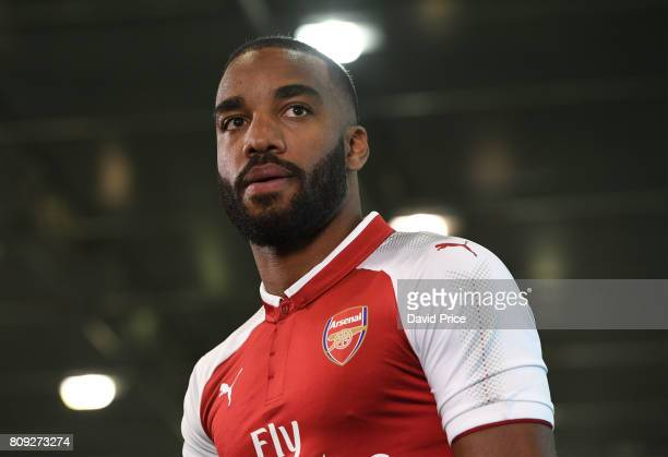 Arsenal's latest signing Alexandre Lacazette at London Colney on July 4 2017 in St Albans England