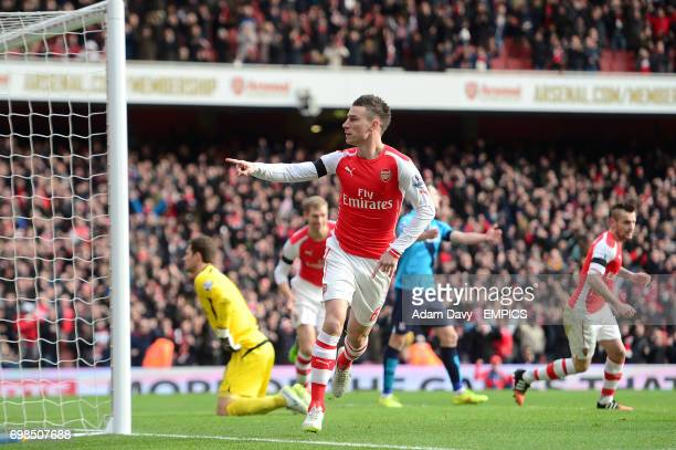 Arsenal's Laurent Koscielny celebrates scoring his sides first goal of the game