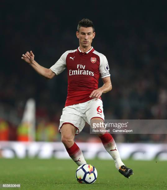 Arsenal's Laurent Koscielny during the Premier League match between Arsenal and West Bromwich Albion at Emirates Stadium on September 25 2017 in...