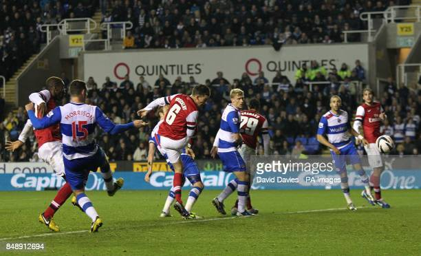Arsenal's Laurent Koscielny scores his side's third goal of the game