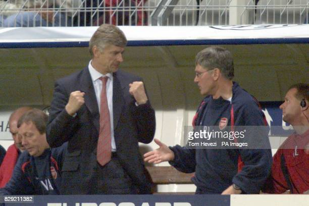 Arsenal's manager Arsene Wenger and Assistant Pat Rice at the end of the match against Auxerre during their Champions League Group A match at the...