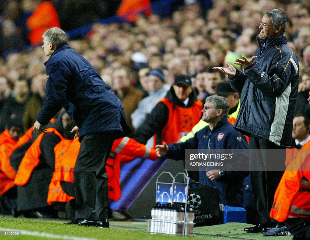 Arsenal's manager Arsene Wenger (L) and Chelsea's manager Claudio Ranieri react at the end of their Champions League quarter-final football match 24 March, 2004 at Stamford Bridge, London. Chelsea and Arsenal tied 1-1.