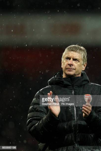 Arsenal's Manager Arsene Wenger celebrates victory after the Barclays Premier League match at the Emirates Stadium London PRESS ASSOCATION Photo...