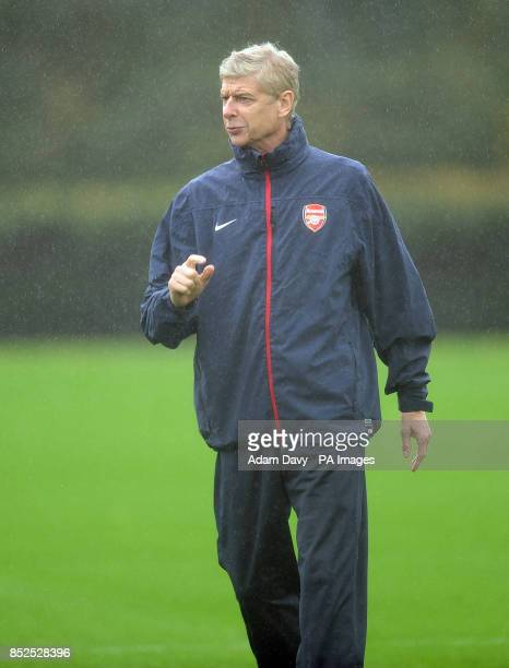 Arsenal's Manager Arsene Wenger during a training session at London Colney St Albans