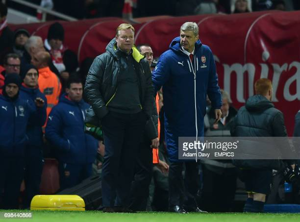 Arsenal's Manager Arsene Wenger has words with Southampton's Manager Ronald Koeman