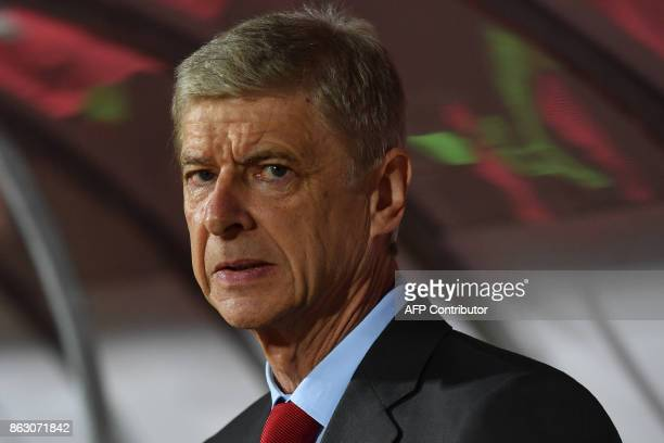 Arsenal's manager Arsene Wenger is pictured prior to the UEFA Europa League football between Belgrade and Arsenal on October 17 2017 in Belgrade /...