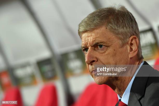 Arsenal's manager Arsene Wenger is pictured prior to the UEFA Europa League football between Belgrade and Arsenal on October 19 2017 in Belgrade /...