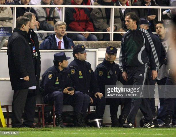 Arsenal's Manager Arsene Wenger remonstrates with the fourth official