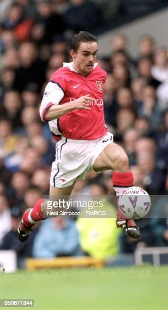 Arsenal's Marc Overmars bursts through to score the winning goal