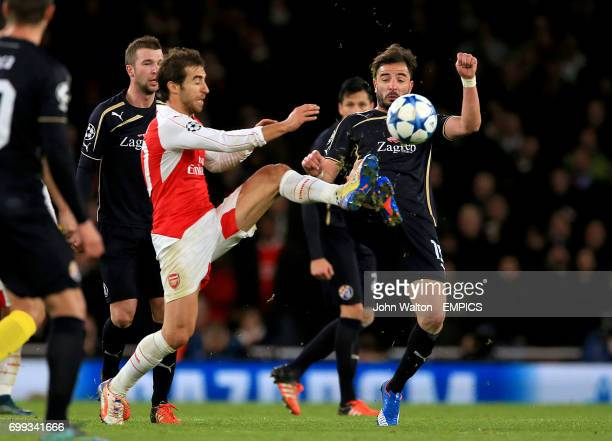 Arsenal's Mathieu Flamini and Dinamo Zagreb's Jose Goncalo battle for the ball